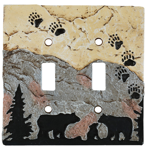 Bear Tracks Stone Double Switch Cover