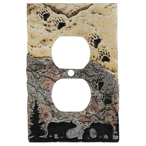 Bear Tracks Stone Outlet Cover