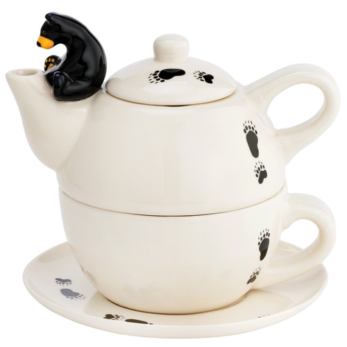 Bear Tracks Teapot and Cup - OVERSTOCK