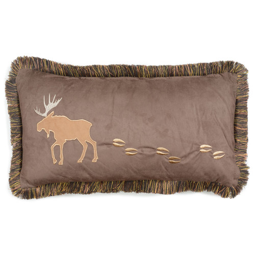 Moose Fringed Accent Pillow