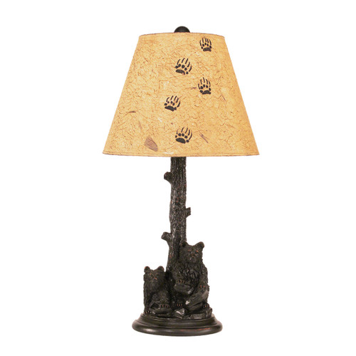 2 Bear Cubs in Tree Table Lamp