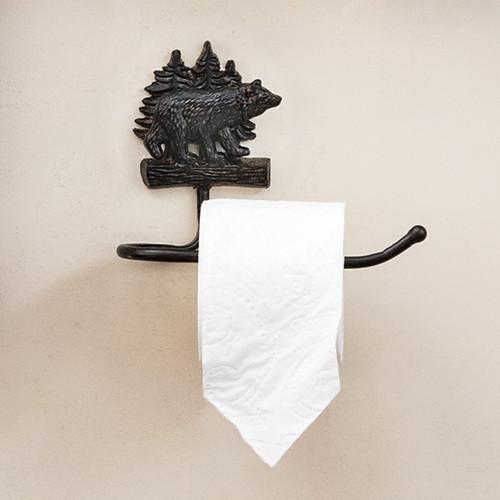 Bear Wilderness Cast Iron Toilet Paper Holder