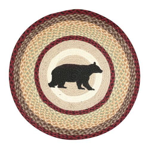 Bear Wilderness Round Braided Rug