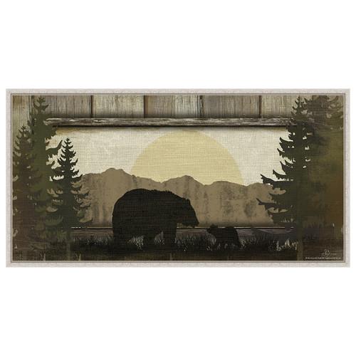 Bear with Cub White Framed Canvas