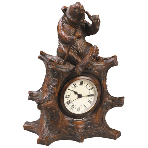 Bear with Pipe Black Forest Clock