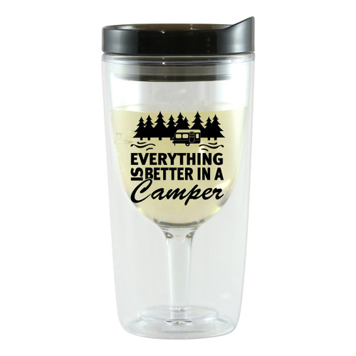 Better in a Camper Wine Tumblers with Black Lids - Set of 4
