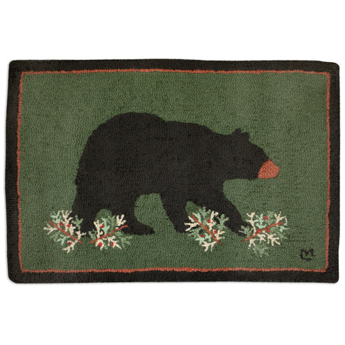 Big Bear Walking Hooked Wool Accent Rug - 2 x 3