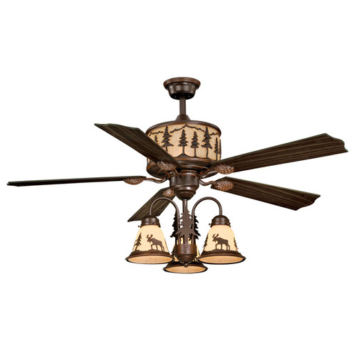 Big Sky Ceiling Fan with Moose And Pine Shades