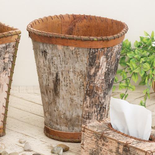 Birch Bark Round Waste Basket