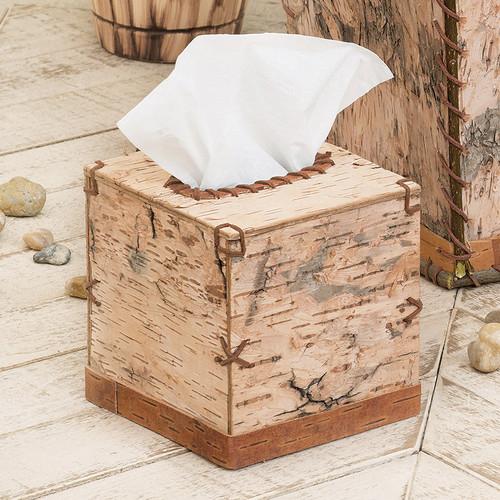 Birch Bark Square Tissue Box