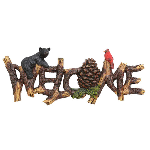 Black Bear & Pine Branch Welcome Sign