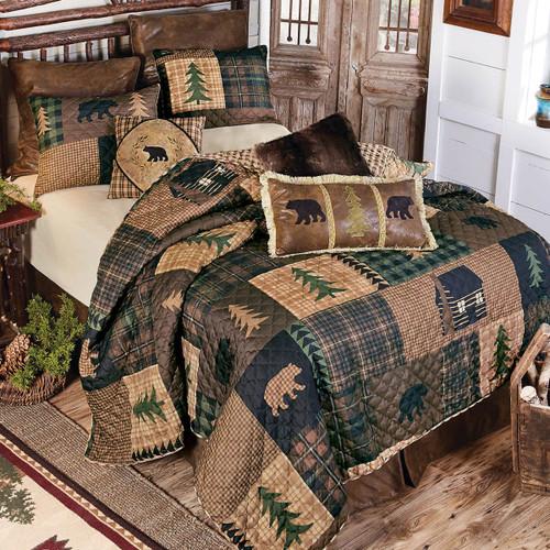 Black Bear & Pines Quilt Set - Twin