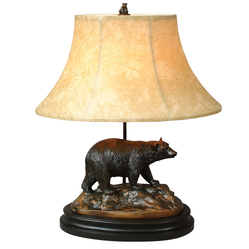 Black Bear and Rocks Sculpture Lamp