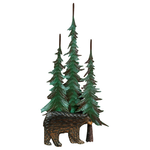Black Bear & Tree Metal Wall Sculpture