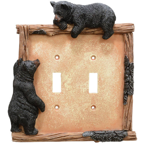 Black Bear & Twig Double Switch Plate