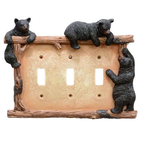 Black Bear & Twig Triple Switch Plate