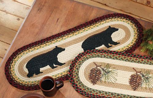 Black Bear Braided Jute Table Runner
