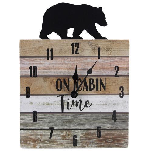 Black Bear Cabin Time Wall Clock