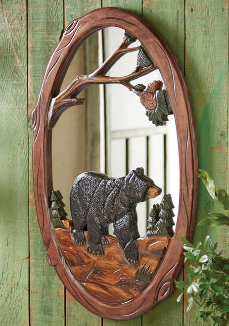 Black Bear Carved Wood Mirror - BACKORDERED UNTIL 10/20/2021