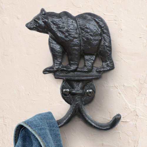 Black Bear Cast Iron Double Wall Hook