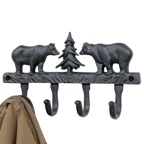 Black Bear Cast Iron Wall Hooks