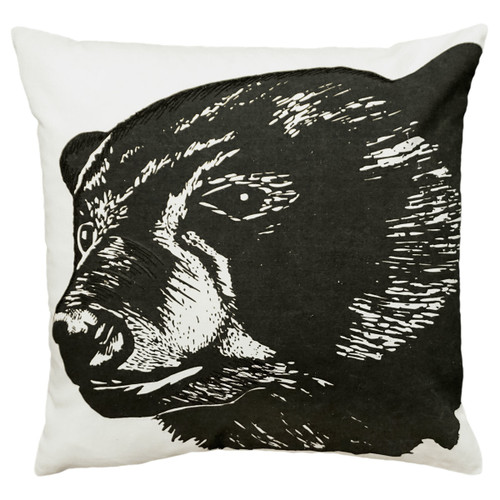 Black Bear Embroidered Pillow