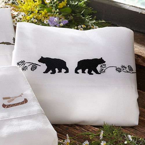 Black Bear Embroidered Sheet Set - Full