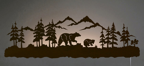 Black Bear Family Back Lit Wall Art