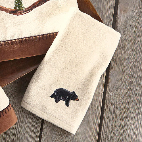 Black Bear Family Fingertip Towel