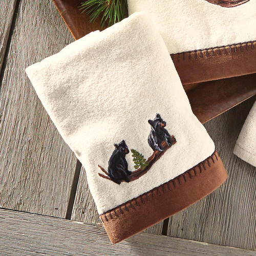 Black Bear Family Hand Towel