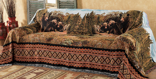 Black Bear Family Mountain Chair Cover