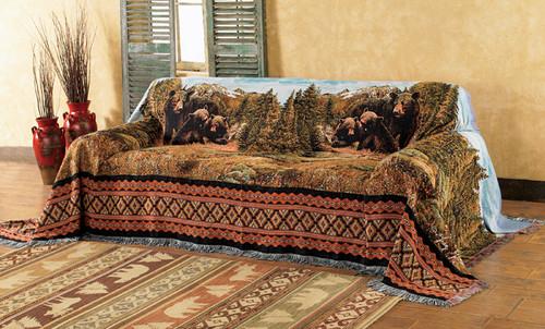 Black Bear Family Mountain Sofa Cover