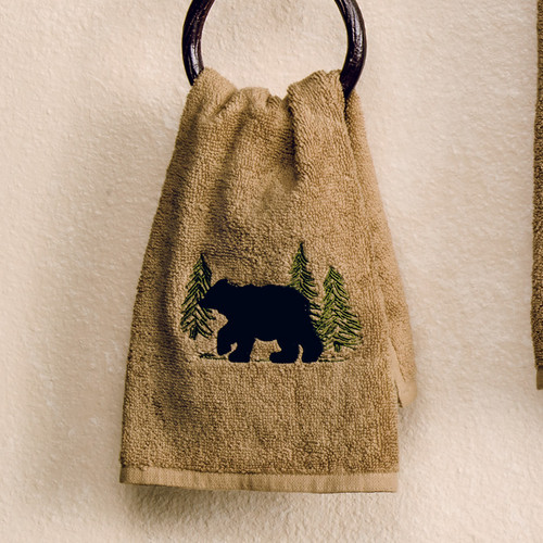 Black Bear Forest Fingertip Towel