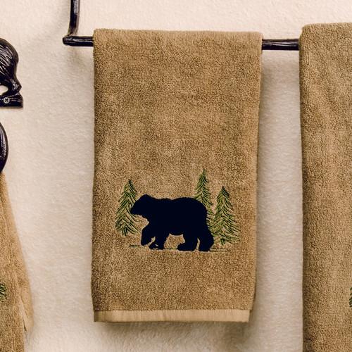 Black Bear Forest Hand Towel