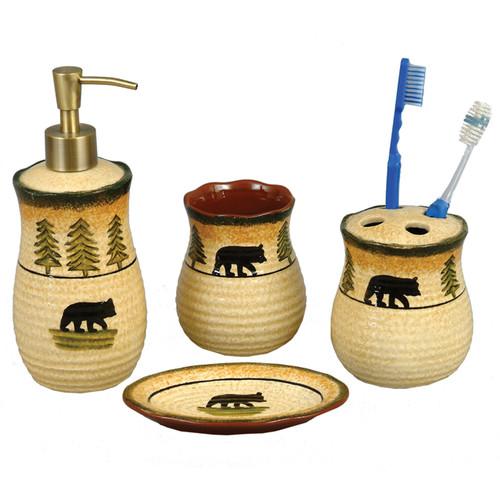 Black Bear Forest Pottery Bath Set - 4 pcs