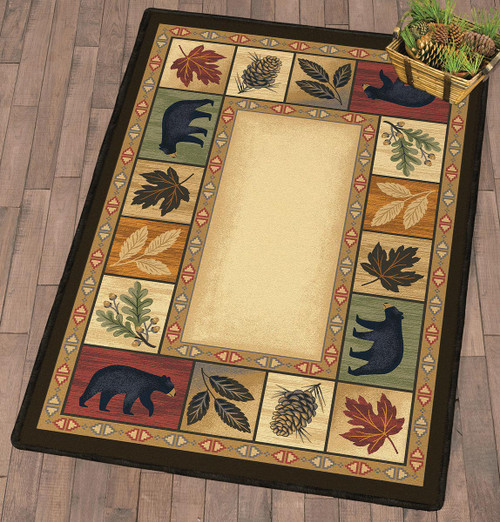 Leafy Lodge Bears Rug Collection