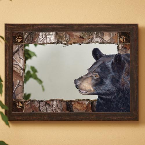Black Bear Forest Wall Mirror