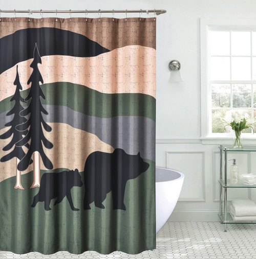 Black Bear Hills Shower Curtain