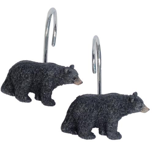 Black Bear Lodge Shower Curtain Hooks (Set of 12)