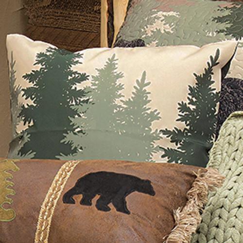 Black Bear Log Cabin Accent Pillow