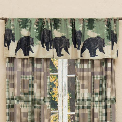 Black Bear Log Cabin Lined Valance