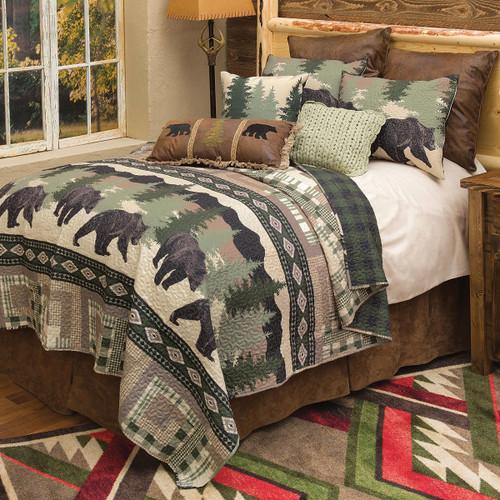 Black Bear Log Cabin Quilt Set - Queen