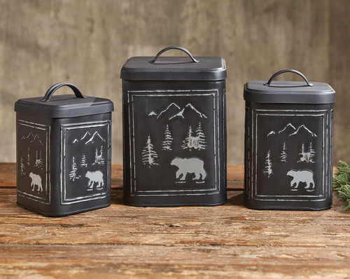 Black Bear Metal Canisters - Set of 3