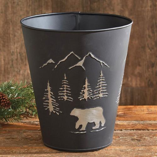 Black Bear Metal Waste Basket