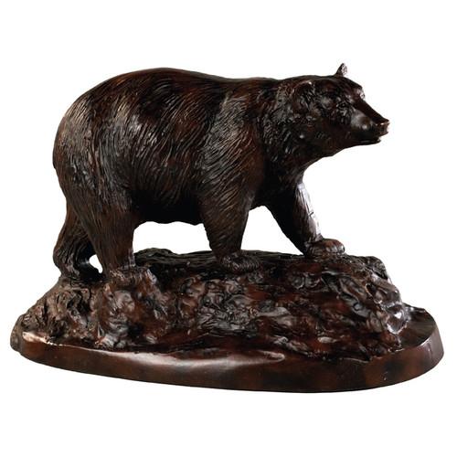 Black Bear On Rocks Sculpture