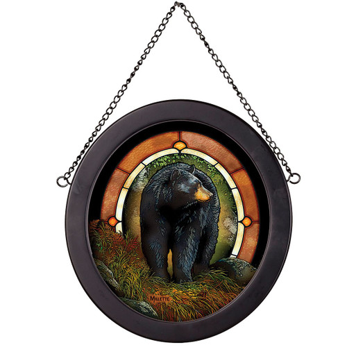 Black Bear Path Oval Stained Glass Art