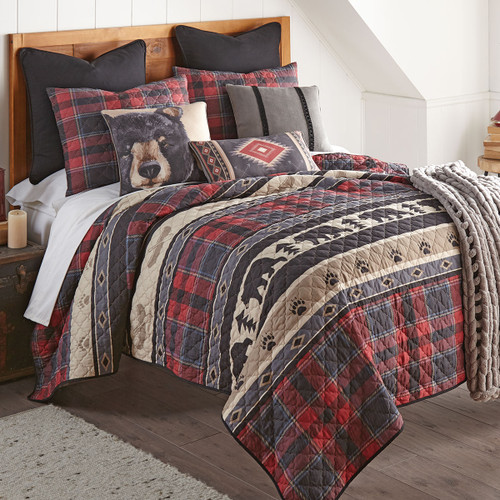 Black Bear Ridge Plaid Quilt Set - Twin