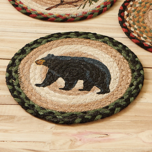 Black Bear Round Jute Trivet