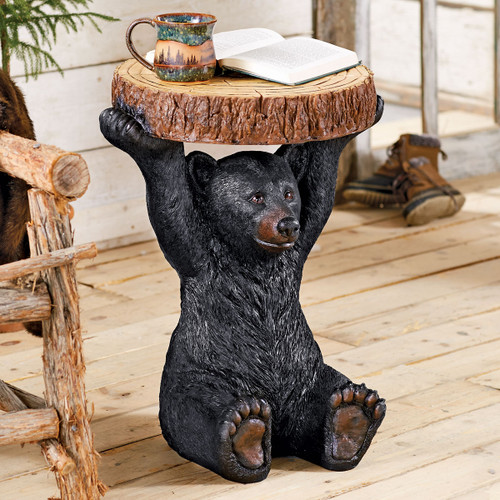 Black Bear Sculpture Accent Table - OUT OF STOCK UNTIL 4/1/2022