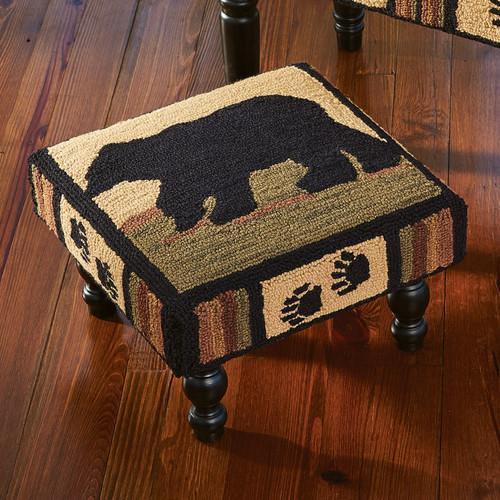 Black Bear Tracks Footstool